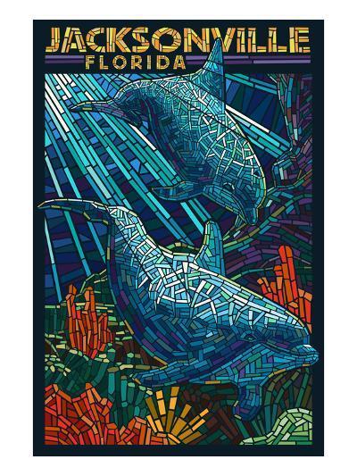 Jacksonville, Florida - Dolphins Paper Mosaic-Lantern Press-Art Print