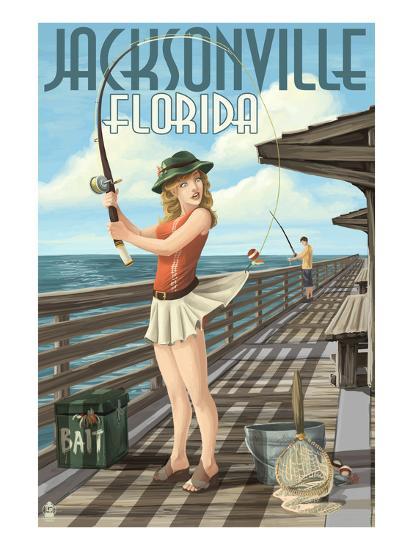 Jacksonville, Florida - Fishing Pinup Girl-Lantern Press-Art Print