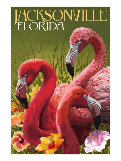 Jacksonville, Florida - Flamingos-Lantern Press-Art Print