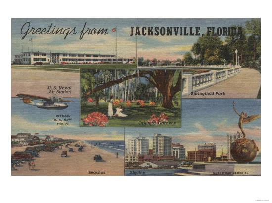 Jacksonville, Florida - Greetings From-Lantern Press-Art Print
