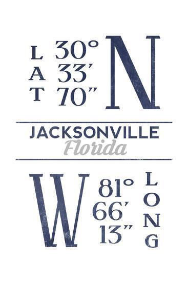 Jacksonville, Florida - Latitude and Longitude (Blue)-Lantern Press-Art Print