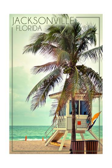Jacksonville, Florida - Lifeguard Shack and Palm-Lantern Press-Art Print