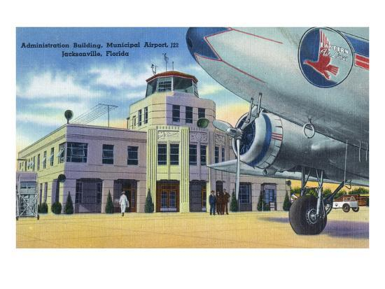 Jacksonville, Florida - Municipal Airport Administration Building-Lantern Press-Art Print