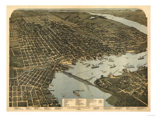 Jacksonville, Florida - Panoramic Map-Lantern Press-Art Print