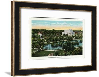 Jacksonville, Florida, Panoramic View of Confederate Park-Lantern Press-Framed Art Print