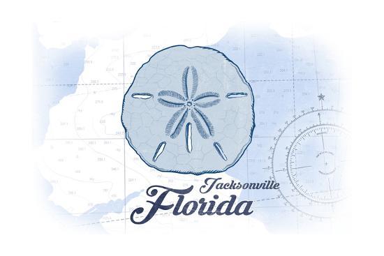 Jacksonville, Florida - Sand Dollar - Blue - Coastal Icon-Lantern Press-Art Print