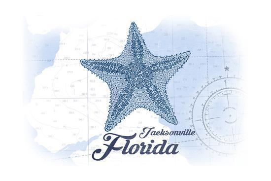Jacksonville, Florida - Starfish - Blue - Coastal Icon-Lantern Press-Art Print