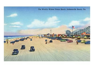Jacksonville Florida View Of World S Widest Ocean Beach Art Print By Lantern Press