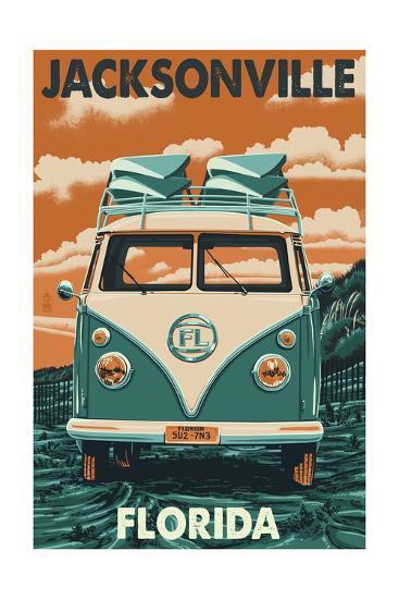 Jacksonville, Florida - VW Van-Lantern Press-Art Print