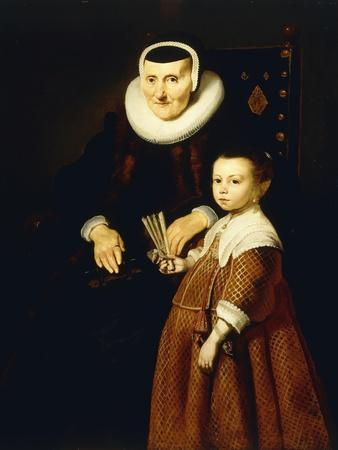 Portrait of a Lady, Aged 80 with a Girl, Aged 6, Three Quarter-Length, C.1632-33