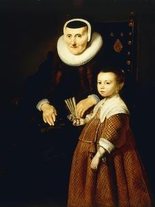 Portrait of a Lady, Aged 80 with a Girl, Aged 6, Three Quarter-Length, C.1632-33 by Jacob Adriensz Backer