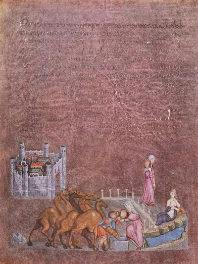 Jacob and Rebecca at the Well, Miniature from Genesis of Vienna, Greek Manuscript.--Giclee Print