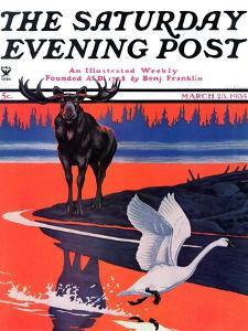"""""""Moose and White Goose,"""" Saturday Evening Post Cover, March 23, 1935 by Jacob Bates Abbott"""