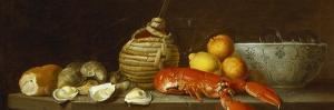 Bread, Oysters, a Chianti Flask, a Lobster, Lemons, Oranges and Glasses in a Porcelain Bowl on a… by Jacob Bogdany