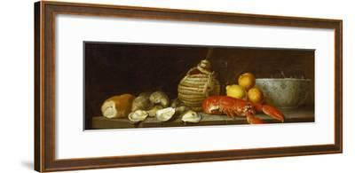 Bread, Oysters, a Chianti Flask, a Lobster, Lemons, Oranges and Glasses in a Porcelain Bowl on a…