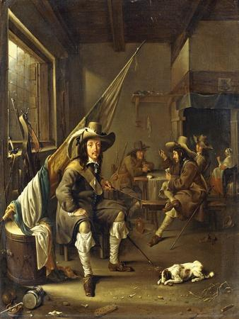 A Seated Cavalier with Soldiers Playing Cards, 1655