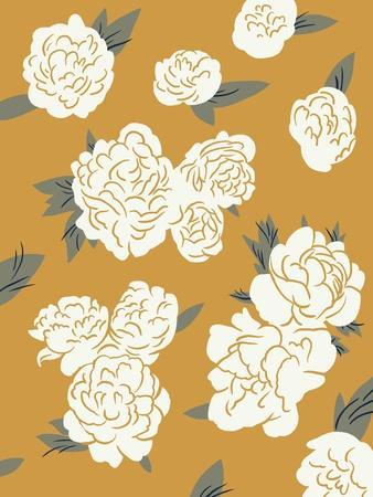 Ivory Peonies on Gold I