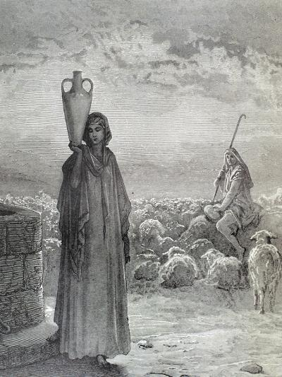 Jacob in His Uncle Laban's House and the Father of His Two Wives Leah and Rachel. Engraving by…--Giclee Print