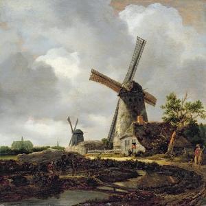 Landscape with Windmills, Near Haarlem, C.1650-52 by Jacob Isaaksz or Isaacksz van Ruisdael