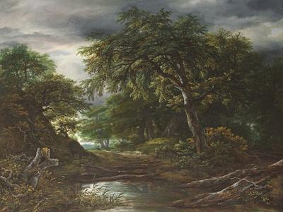 Woodland at Sunset with a Traveller and His Dog