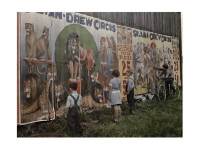 Children Read a Sylvan Drew Circus Billboard by Jacob J^ Gayer