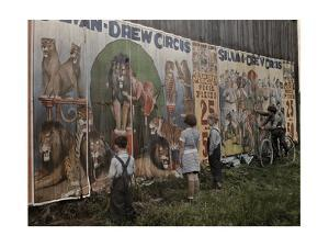 Children Read a Sylvan Drew Circus Billboard by Jacob J^ Gayer
