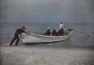 Coastguardsmen Go Out in their Boat by Jacob J. Gayer