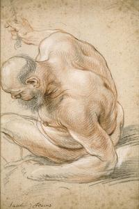 Nude Old Man Seated, Leaning on His Forearm, Facing Left, C.1640 by Jacob Jordaens