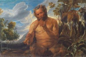 Satyr Playing the Pipe (Jupiter's Childhoo), Ca 1639 by Jacob Jordaens