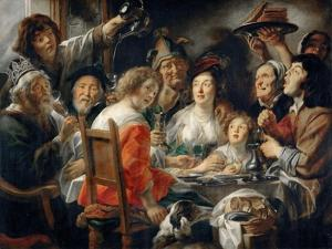 The King Drinks, or Family Meal on the Feast of Epiphany by Jacob Jordaens