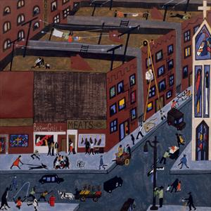 Harlem Street Scene, 1942 by Jacob Lawrence