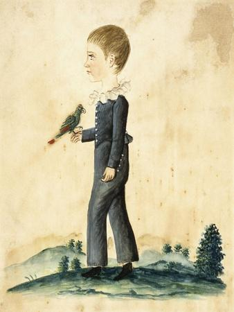 Portrait of a Young Boy with Parrot