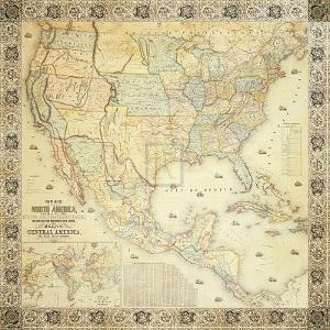 Map of North America, 1853 by Jacob Monk