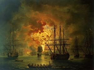 The Destruction of the Turkish Fleet at the Bay of Chesma, 1772 by Jacob-Philippe Hackert