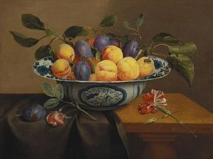 Plums and Apricots in a Wanli Kraak Porselein Bowl with a Carnation, a Rose by Jacob Van Hulsdonck