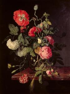 Flowers in a Glass Vase, 1667 by Jacob van Walscapelle