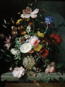 Stilleben Mit Blumenstrauss in Einer Terrakottavase, 1677 by Jacob Van Walscapelle
