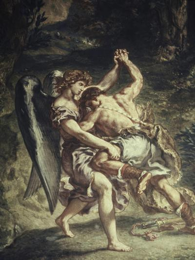 Jacob Wrestles with the Angel-Eugene Delacroix-Giclee Print