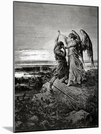 Jacob Wrestling with the Angel. Engraving.-null-Mounted Giclee Print