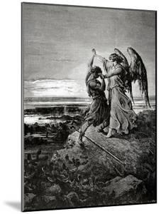 Jacob Wrestling with the Angel. Engraving.