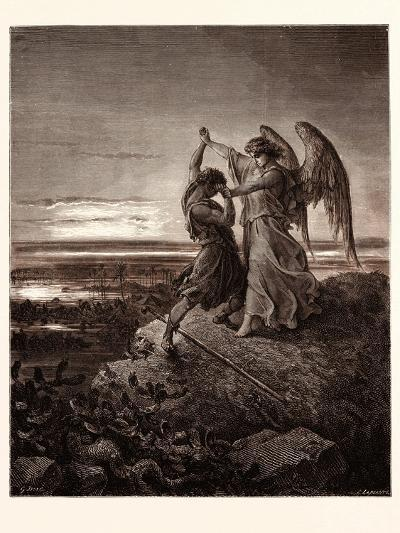 Jacob Wrestling with the Angel-Gustave Dore-Giclee Print