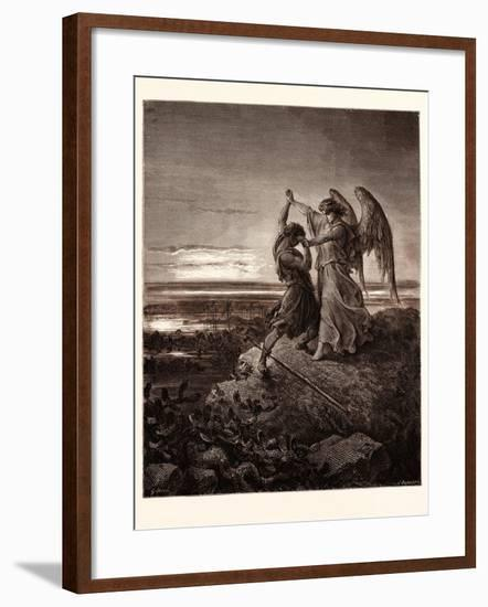 Jacob Wrestling with the Angel-Gustave Dore-Framed Giclee Print
