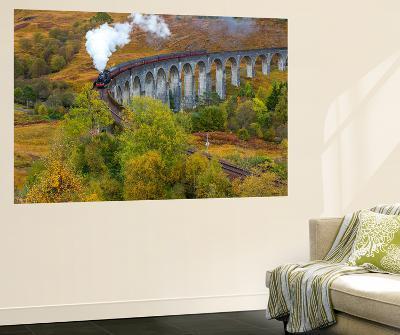 Jacobite or Harry Potter Steam Train Crossing Glenfinnan Viaduct, Lochaber-Peter Adams-Wall Mural
