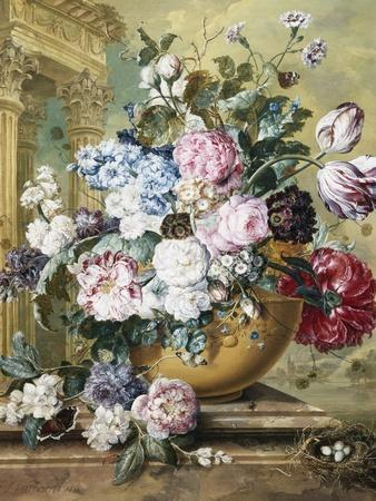 A Still Life of Roses, Delphiniums and Tulips