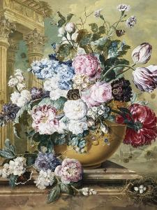 A Still Life of Roses, Delphiniums and Tulips by Jacobus Linthorst