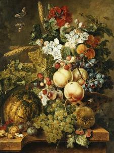 Fruit and Flowers on Marble Ledges, 1812 by Jacobus Linthorst