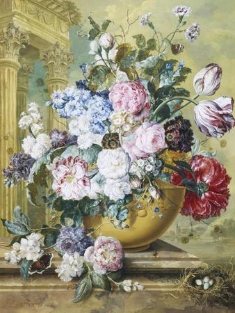 Still Life of Roses, Delphiniums and Tulips