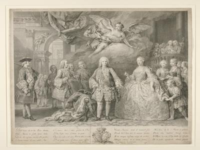 Ferdinand VI and queen Maria Barbara of Braganza with Scarlatti and the Italian castrato Farinelli