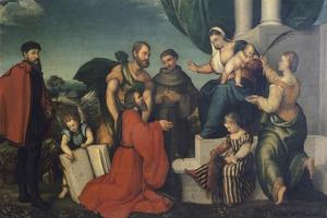 Madonna Adored by Podesta of Bassano Marco Soranzo by Jacopo Bassano