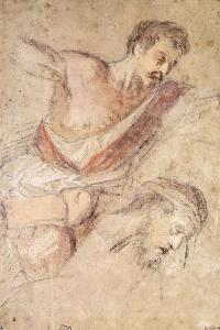 Studies for a Flagellation: a Man Scourging and the Head of Christ by Jacopo Bassano
